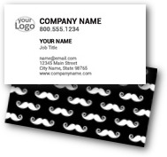 Black & White Mustache Business Cards